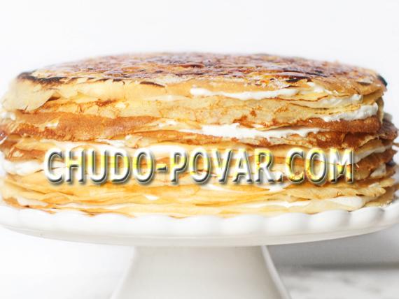 Блинный торт со сметанным кремом рецепт с фото