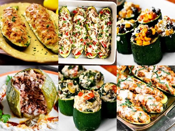Пошаговые рецепты фаршированных кабачков с фаршем, мясом, овощами, курицей и грибами в духовке