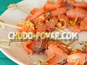 Рецепт канапе на шпажках с сёмгой