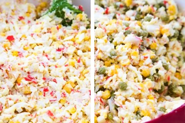 Как сделать крабовый салат с кукурузой и рисом