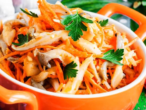 Вешенки по-корейски маринованные с морковью