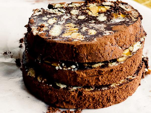 Шоколадная колбаса из печенья и какао классический рецепт