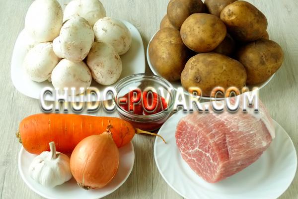 Свинина с картошкой на сковороде: ингредиенты