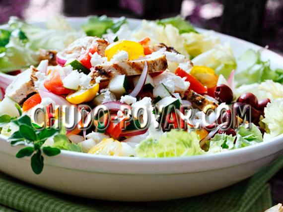 греческий салат с курицей рецепт с фото