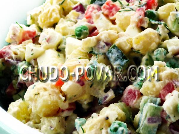 салат столичный с курицей рецепт с фото