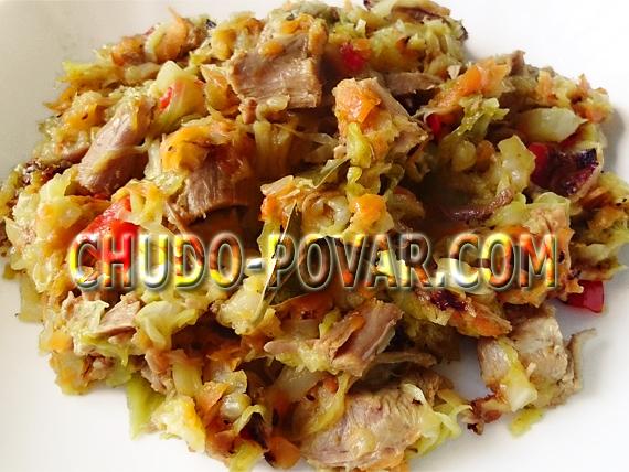 Тушёная капуста в мультиварке с мясом рецепт с фото