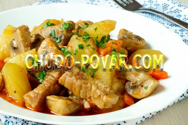Тушёная картошка со свининой